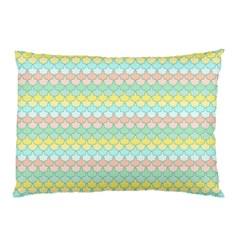 Scallop Repeat Pattern In Miami Pastel Aqua, Pink, Mint And Lemon Pillow Cases by PaperandFrill