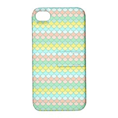 Scallop Repeat Pattern In Miami Pastel Aqua, Pink, Mint And Lemon Apple Iphone 4/4s Hardshell Case With Stand by PaperandFrill