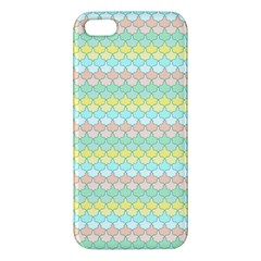 Scallop Repeat Pattern In Miami Pastel Aqua, Pink, Mint And Lemon Iphone 5s Premium Hardshell Case by PaperandFrill