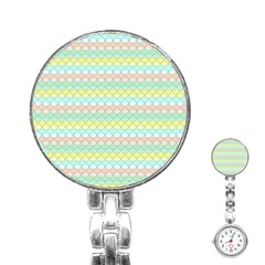 Scallop Repeat Pattern in Miami Pastel Aqua, Pink, Mint and Lemon Stainless Steel Nurses Watches by PaperandFrill