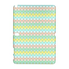Scallop Repeat Pattern In Miami Pastel Aqua, Pink, Mint And Lemon Samsung Galaxy Note 10 1 (p600) Hardshell Case by PaperandFrill