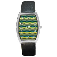 Scallop Pattern Repeat In  new York  Teal, Mustard, Grey And Moss Barrel Metal Watches by PaperandFrill