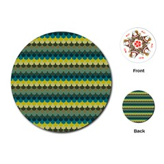 Scallop Pattern Repeat In  new York  Teal, Mustard, Grey And Moss Playing Cards (round)  by PaperandFrill