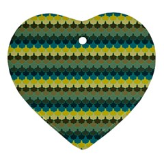 Scallop Pattern Repeat In  new York  Teal, Mustard, Grey And Moss Heart Ornament (2 Sides) by PaperandFrill