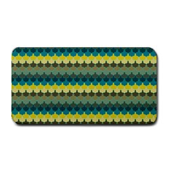 Scallop Pattern Repeat In  new York  Teal, Mustard, Grey And Moss Medium Bar Mats by PaperandFrill