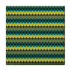Scallop Pattern Repeat In  new York  Teal, Mustard, Grey And Moss Face Towel by PaperandFrill