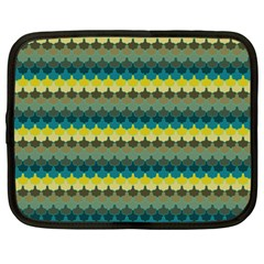 Scallop Pattern Repeat In  new York  Teal, Mustard, Grey And Moss Netbook Case (xxl)  by PaperandFrill