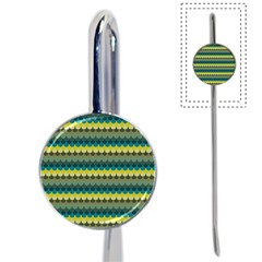 Scallop Pattern Repeat In  new York  Teal, Mustard, Grey And Moss Book Mark by PaperandFrill