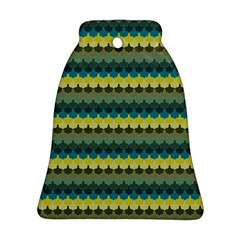 Scallop Pattern Repeat In  new York  Teal, Mustard, Grey And Moss Bell Ornament (2 Sides) by PaperandFrill