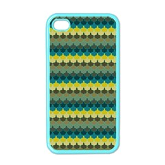 Scallop Pattern Repeat In  new York  Teal, Mustard, Grey And Moss Apple Iphone 4 Case (color) by PaperandFrill