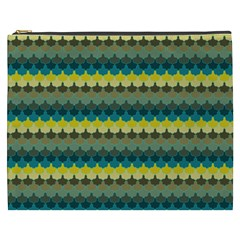 Scallop Pattern Repeat In  new York  Teal, Mustard, Grey And Moss Cosmetic Bag (xxxl)  by PaperandFrill