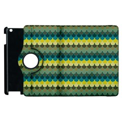 Scallop Pattern Repeat In  new York  Teal, Mustard, Grey And Moss Apple Ipad 3/4 Flip 360 Case by PaperandFrill