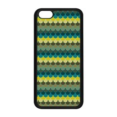 Scallop Pattern Repeat In  new York  Teal, Mustard, Grey And Moss Apple Iphone 5c Seamless Case (black) by PaperandFrill