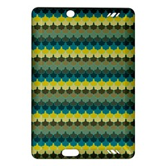 Scallop Pattern Repeat In  new York  Teal, Mustard, Grey And Moss Kindle Fire Hd (2013) Hardshell Case by PaperandFrill