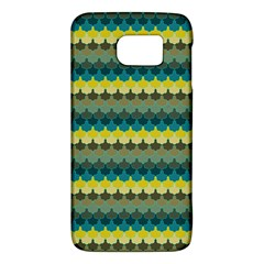 Scallop Pattern Repeat In  new York  Teal, Mustard, Grey And Moss Galaxy S6 by PaperandFrill