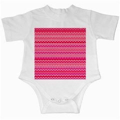 Valentine Pink And Red Wavy Chevron Zigzag Pattern Infant Creepers by PaperandFrill