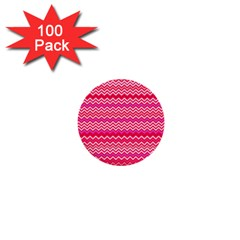 Valentine Pink And Red Wavy Chevron Zigzag Pattern 1  Mini Buttons (100 Pack)  by PaperandFrill