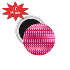 Valentine Pink And Red Wavy Chevron Zigzag Pattern 1 75  Magnets (10 Pack)  by PaperandFrill