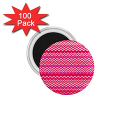 Valentine Pink And Red Wavy Chevron Zigzag Pattern 1 75  Magnets (100 Pack)  by PaperandFrill