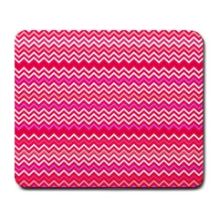 Valentine Pink And Red Wavy Chevron Zigzag Pattern Large Mousepads by PaperandFrill
