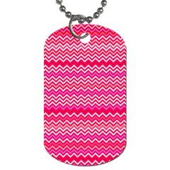 Valentine Pink And Red Wavy Chevron Zigzag Pattern Dog Tag (one Side) by PaperandFrill