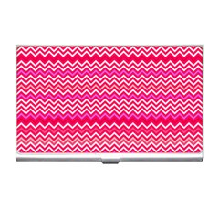 Valentine Pink And Red Wavy Chevron Zigzag Pattern Business Card Holders by PaperandFrill
