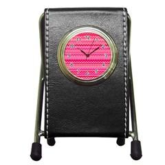 Valentine Pink And Red Wavy Chevron Zigzag Pattern Pen Holder Desk Clocks by PaperandFrill