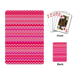 Valentine Pink And Red Wavy Chevron Zigzag Pattern Playing Card by PaperandFrill