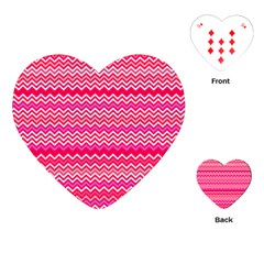 Valentine Pink And Red Wavy Chevron Zigzag Pattern Playing Cards (heart)  by PaperandFrill