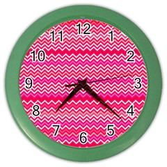 Valentine Pink And Red Wavy Chevron Zigzag Pattern Color Wall Clocks by PaperandFrill