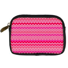 Valentine Pink And Red Wavy Chevron Zigzag Pattern Digital Camera Cases by PaperandFrill