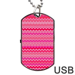 Valentine Pink And Red Wavy Chevron Zigzag Pattern Dog Tag Usb Flash (two Sides)  by PaperandFrill
