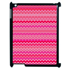 Valentine Pink And Red Wavy Chevron Zigzag Pattern Apple Ipad 2 Case (black) by PaperandFrill