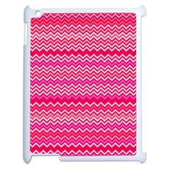 Valentine Pink And Red Wavy Chevron Zigzag Pattern Apple Ipad 2 Case (white) by PaperandFrill