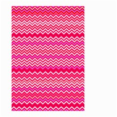 Valentine Pink And Red Wavy Chevron Zigzag Pattern Small Garden Flag (two Sides) by PaperandFrill