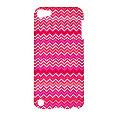 Valentine Pink And Red Wavy Chevron Zigzag Pattern Apple Ipod Touch 5 Hardshell Case by PaperandFrill