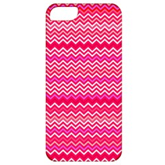 Valentine Pink And Red Wavy Chevron Zigzag Pattern Apple Iphone 5 Classic Hardshell Case by PaperandFrill