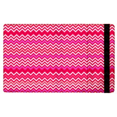 Valentine Pink And Red Wavy Chevron Zigzag Pattern Apple Ipad 2 Flip Case by PaperandFrill
