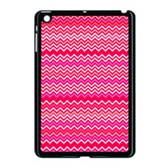 Valentine Pink And Red Wavy Chevron Zigzag Pattern Apple Ipad Mini Case (black) by PaperandFrill