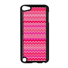 Valentine Pink And Red Wavy Chevron Zigzag Pattern Apple Ipod Touch 5 Case (black) by PaperandFrill