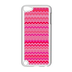 Valentine Pink And Red Wavy Chevron Zigzag Pattern Apple Ipod Touch 5 Case (white) by PaperandFrill