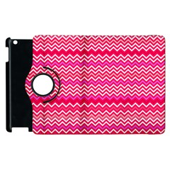Valentine Pink And Red Wavy Chevron Zigzag Pattern Apple Ipad 3/4 Flip 360 Case by PaperandFrill