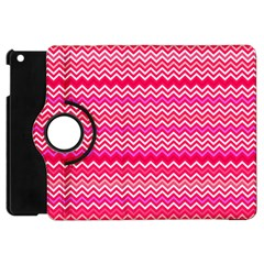 Valentine Pink And Red Wavy Chevron Zigzag Pattern Apple Ipad Mini Flip 360 Case by PaperandFrill