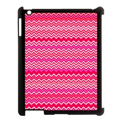 Valentine Pink And Red Wavy Chevron Zigzag Pattern Apple Ipad 3/4 Case (black) by PaperandFrill
