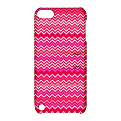Valentine Pink And Red Wavy Chevron Zigzag Pattern Apple Ipod Touch 5 Hardshell Case With Stand by PaperandFrill