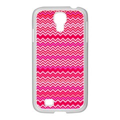 Valentine Pink And Red Wavy Chevron Zigzag Pattern Samsung Galaxy S4 I9500/ I9505 Case (white) by PaperandFrill
