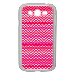 Valentine Pink And Red Wavy Chevron Zigzag Pattern Samsung Galaxy Grand Duos I9082 Case (white) by PaperandFrill
