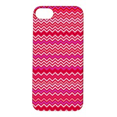 Valentine Pink And Red Wavy Chevron Zigzag Pattern Apple Iphone 5s Hardshell Case by PaperandFrill