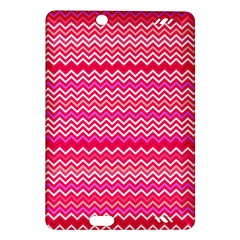 Valentine Pink And Red Wavy Chevron Zigzag Pattern Kindle Fire Hd (2013) Hardshell Case by PaperandFrill
