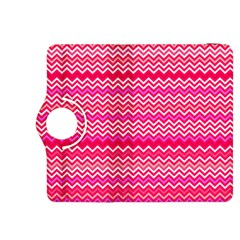 Valentine Pink And Red Wavy Chevron Zigzag Pattern Kindle Fire Hdx 8 9  Flip 360 Case by PaperandFrill